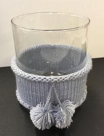Maxi t-lighthouder sjaal ponpon wit/grijs