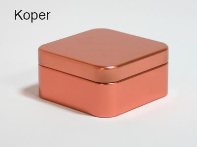 Koper, vierkante doos blik, bb collection, doopsuiker suikerbonen amandine brugge